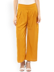 Pannkh Women Mustard Yellow Solid Flared Fit Palazzo Trousers