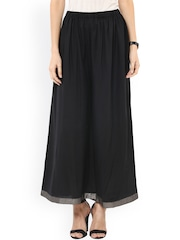 Pannkh Women Black Solid Flared Fit Palazzo Trousers