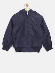 United Colors of Benetton Boys Navy & Yellow Reversible Hooded Bomber Jacket