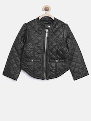 United Colors of Benetton Girls Black Quilted Biker Jacket