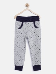 United Colors of Benetton Boys Grey Melange Printed Track Pants