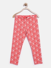 United Colors of Benetton Girls Pink & White Floral Print Leggings