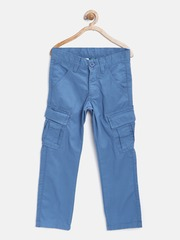 United Colors of Benetton Boys Blue Solid Cargos
