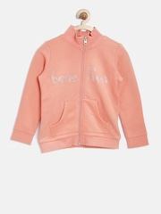 United Colors of Benetton Girls Peach-Coloured Embellished Sweatshirt
