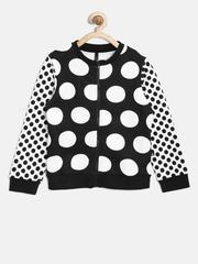 United Colors of Benetton Girls Black & White Printed Sweatshirt