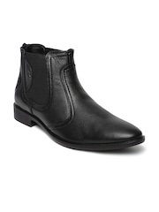 Red Chief Men Black High-Top Genuine Leather Chelsea Boots