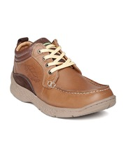 Red Chief Men Tan Brown Solid Leather Flat Boots