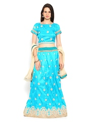 Moiaa Turquoise Blue Raw Silk Embroidered Semi-Stitched Lehenga Choli with Dupatta