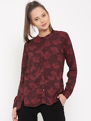 United Colors of Benetton Women Maroon Printed Shirt
