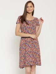 United Colors of Benetton Women Multicoloured Printed Belted Dress