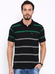 Proline Men Black Striped Polo T-shirt