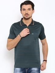 Proline Men Charcoal Grey Striped Polo Collar T-shirt