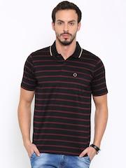 Proline Men Black & Maroon Striped Polo Collar T-shirt