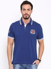 Proline Men Blue Solid Polo T-shirt