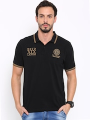 Proline Men Black Solid Polo Collar T-shirt