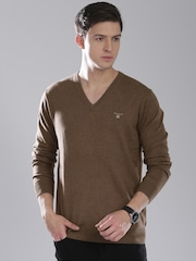 GANT Men Brown Solid Sweater