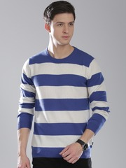 GANT Men Blue and Off-White Striped Sweater