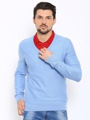 Indian Terrain Men Blue Self-Design Sweater