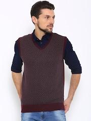 Indian Terrain Men Maroon Vest Fit Sweater