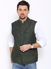 Indian Terrain Olive Green Linen Bandhgala Fit Nehru Jacket