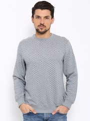 Indian Terrain Men Grey Melange Printed Sweater