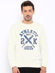 Indian Terrain Men Cream-Coloured Printed Sweatshirt