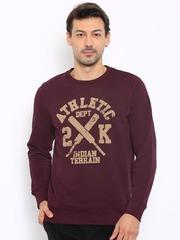 Indian Terrain Men Maroon Printed Sweatshirt