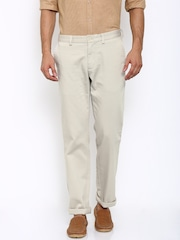 Indian Terrain Men Beige Solid Flat-Front Trousers