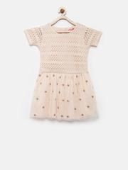 Elle Kids Girls Beige Lace Fit &Flare Dress