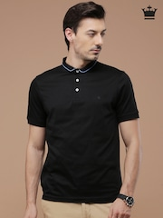 Louis Philippe Men Black Solid Mandarin Collar T-shirt
