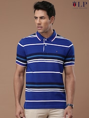 Louis Philippe Sport Men Blue Striped Polo T-Shirt