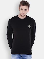 Flying Machine Men Black Solid Pullover Sweatshirt
