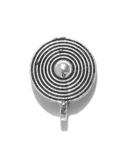 FIROZA Oxidised Silver-Toned Circular Clip-On Nosepin