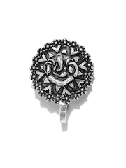 FIROZA Oxidised Silver-Toned Lord Ganesha-Shaped Clip-On Nosepin