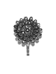 FIROZA Oxidised Silver-Toned Floral Clip-On Nosepin