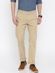 Peter England Casuals Men Beige Solid Slim Fit Chino Trousers