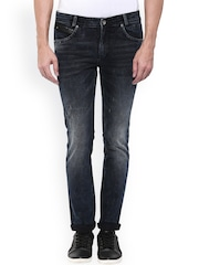 Mufti Men Black Super Slim Fit Mid-Rise Low Distress Jeans
