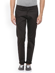 Mufti Men Charcoal Self-design Slim Fit Chino Trousers