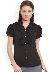eyelet Women Black Solid Casual Shirt
