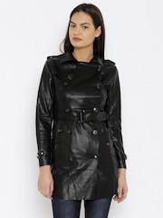 U.S. Polo Assn. Women Black Trench Coat