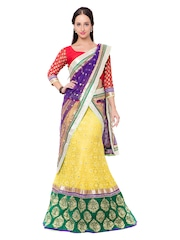 Triveni Yellow & Red Embroidered Silk & Net Semi-Stitched Lehenga Choli with Dupatta