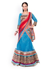 Triveni Blue Embroidered Silk & Net Semi-Stitched Lehenga Choli with Dupatta