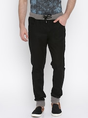 Jack & Jones Men Black Solid Jogger Trousers
