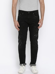 Jack & Jones Men Black Distressed Jeans