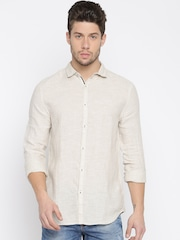 Jack & Jones Men Beige Slim Fit Solid Linen Casual Shirt