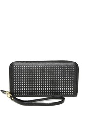 Lisa Haydon for Lino Perros Women Black Cut-Out Zip-Around Wallet