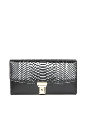 Lisa Haydon for Lino Perros Women Black Snakeskin Textured Wallet
