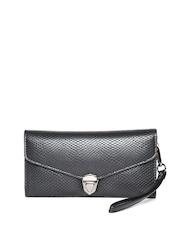 Lisa Haydon for Lino Perros Women Black Snakeskin Textured Wallet