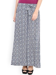 Trend Arrest Women Blue Printed Palazzo Trousers