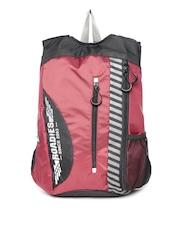 Roadies by THe VerTicaL Unisex Maroon & Black Printed Backpack